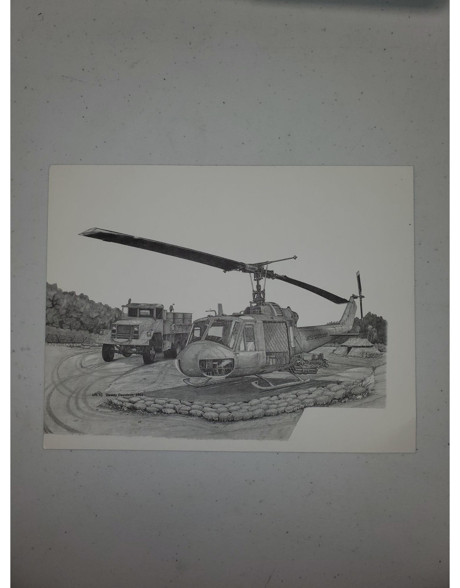 UH-1C 9x7 Pen and Ink Print