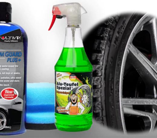 Productos para limpiar y proteger ruedas del auto. (Gomas y Aros)