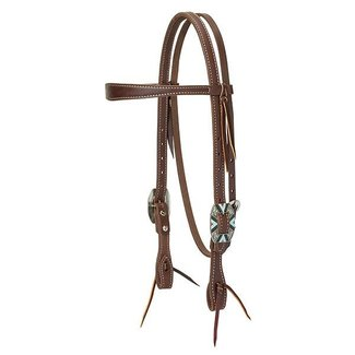 Weaver Leather Weaver Working Cowboy Slim Browband Headstall, Rope Edge Hardware, Oiled Canyon Rose