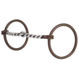 """Weaver Leather Weaver Professional Antiqued Ring Snaffle Bit 5"""" Twisted Curved Mouth"""