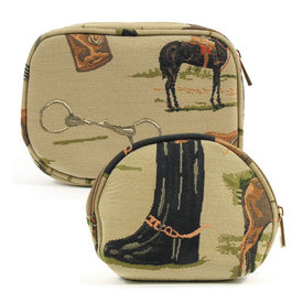 Equestrian Tapestry Cosmetic Case 2 Piece