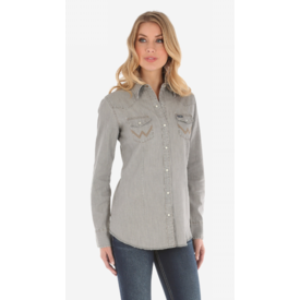 Wrangler Wrangler Ladies Long Sleeve Western Snap Denim Shirt