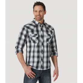 Wrangler Wrangler Men's Long Sleeve Fashion Western Snap Plaid Shirt