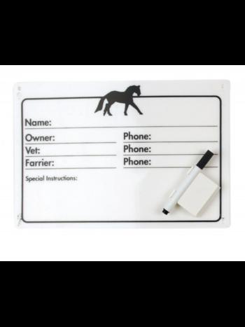 Equi-Essentials Horse Info Stall Plaque w/ Dry Erase Pen