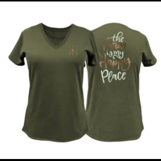 John Deere Ladies Farm Happy Place Tee Shirt
