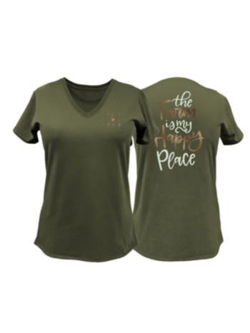 John Deere Ladies Farm Happy Place Tee Shirt
