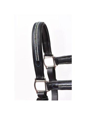 Perri's Leather Perri's Multi Bling Black Padded Leather Halter