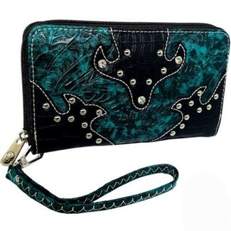Turquoise Leather Alligator Print & Stud Zipper Wallet