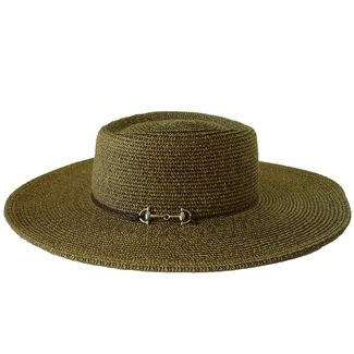 Baron Enterprises Baron Collection Wide Brim Straw Sun Hat with Chin Strap