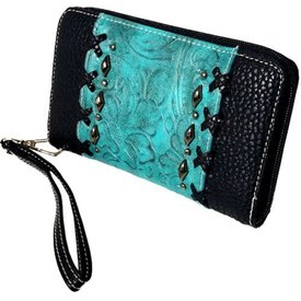 Black Leather and Turquoise Embossed Turquoise Overlay Zipper Wallet