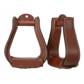 "Tough 1 Tough 1 Dark Oil Leather Covered Stirrups 2 1/2"" Neck"
