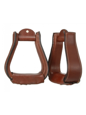"Tough 1 Tough 1 Dark Oil Leather Covered Stirrups 2 1/2"" Neck"