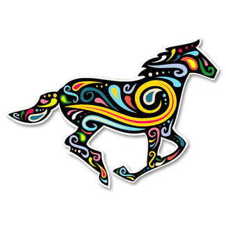 Paisley Running Horse Decal