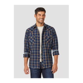 Wrangler Wrangler Men's Retro Long Sleeve with Contrast Western Snap Plaid Shirt