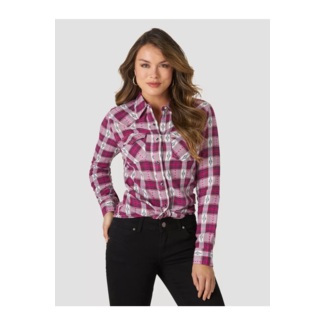 Wrangler Wrangler Ladies Long Sleeve Pointed Yoke Western Snap Plaid Shirt