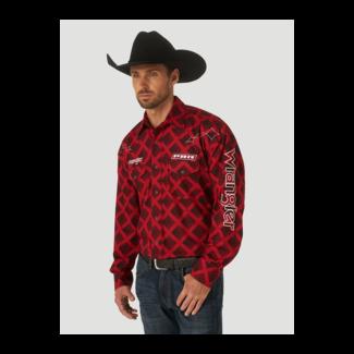Wrangler Wrangler Men's PBR Logo Long Sleeve Print Western Snap Shirt