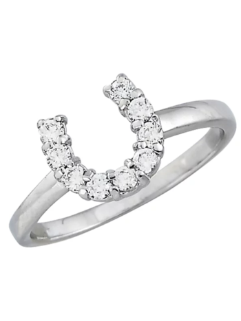 AWST AWST Sterling Silver & Clear CZ Horseshoe Ring