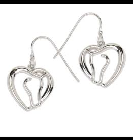 AWST AWST Horse Head Heart Rhodium Earrings