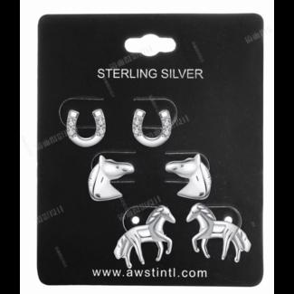 AWST AWST Sterling Silver Horse Earrings Set of 3