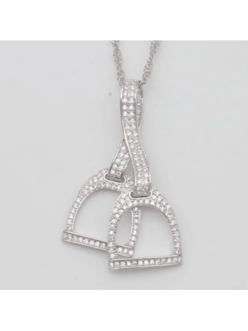AWST AWST Double Stirrup with Clear Stones Rhodium Necklace