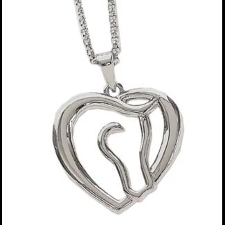 AWST AWST Horse Head Heart Rhodium Necklace