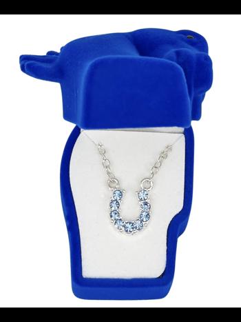AWST AWST Rhinestone Horseshoe Necklace with Horse Head Gift Box