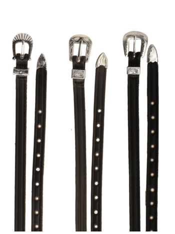 Tory Leather Tory English Spur Straps Black with Silver Plate Buckle