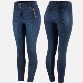 Horze Horze Nicole Ladies Denim Breeches Silicone Knee Patch