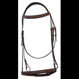 RHC Equestrian RHC Italian Padded Leather Bridle w/ Raised Reins