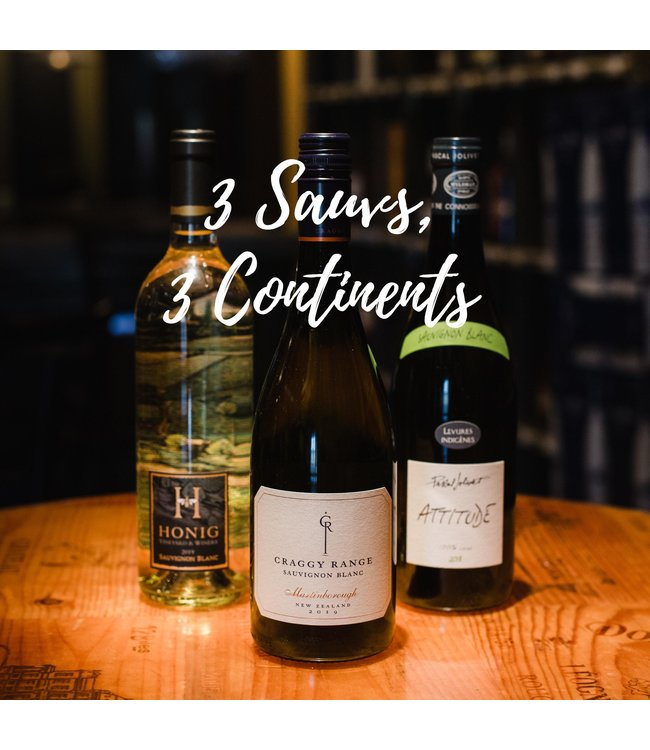 Wine Three Sauvignon Blancs, Three Continents (3-Pak)