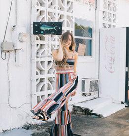 Smocked Stripe Knit Jumpsuit