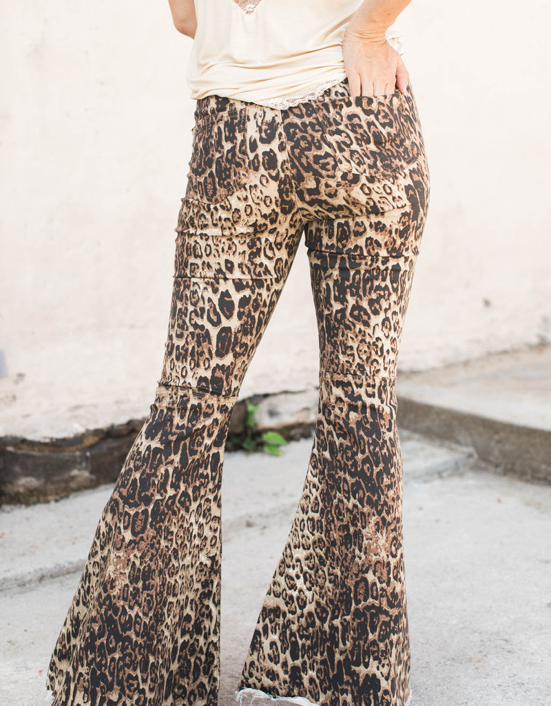 Leopard Denim Flare Jeans