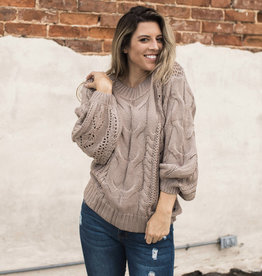 Cable Puff Sleeve Sweater