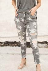 Star Print Denim Pants