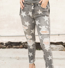 Star Print Denim Pants