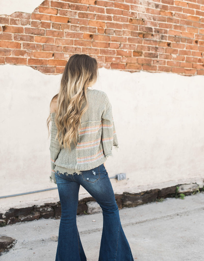 Distressed Striped Sweater