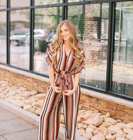 Striped Front Tie Jumpsuit