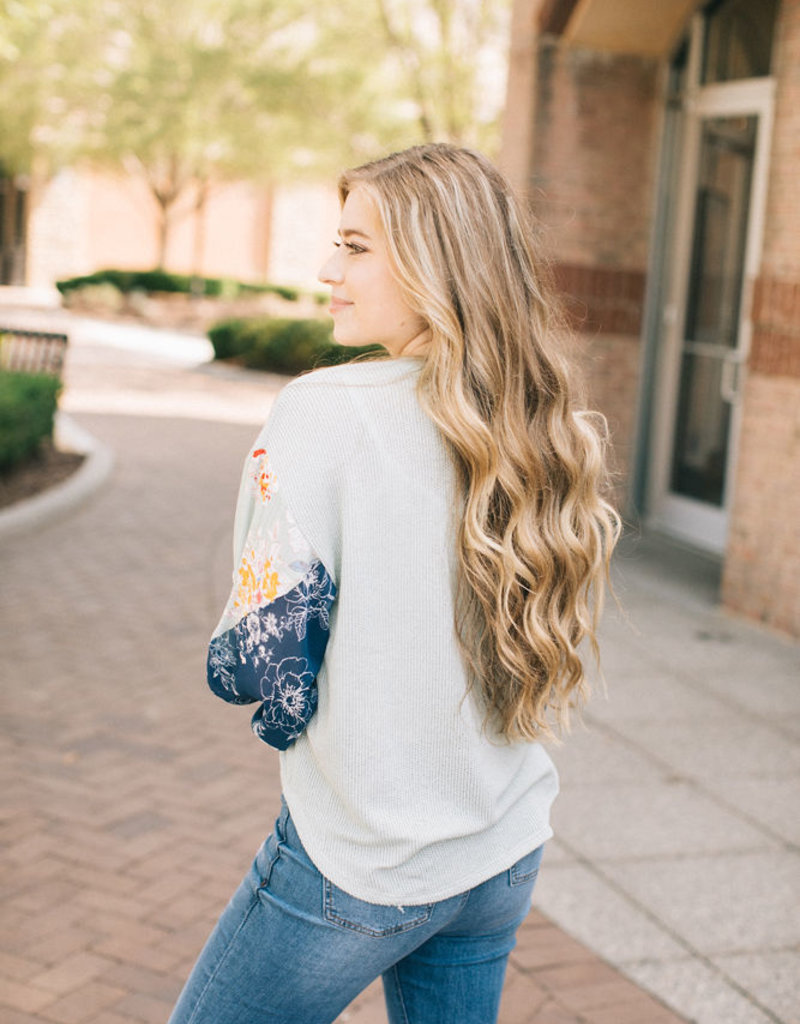 Floral Contrast Sleeve Top