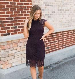 Plum Lace Crochet Dress