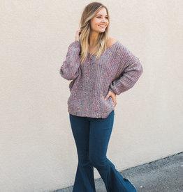Twist Back Confetti Sweater