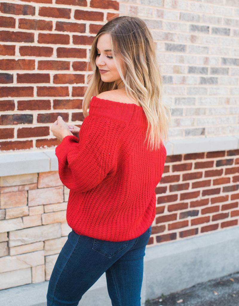 Red Off Shoulder Sweater