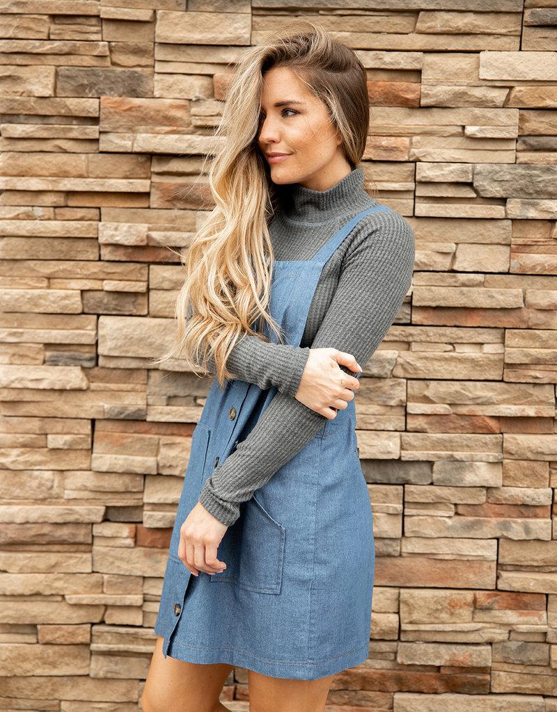 & Merci Racing stripes blue denim pocket dress