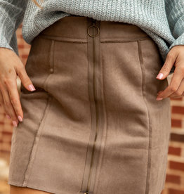 Suede Zipper Skirt