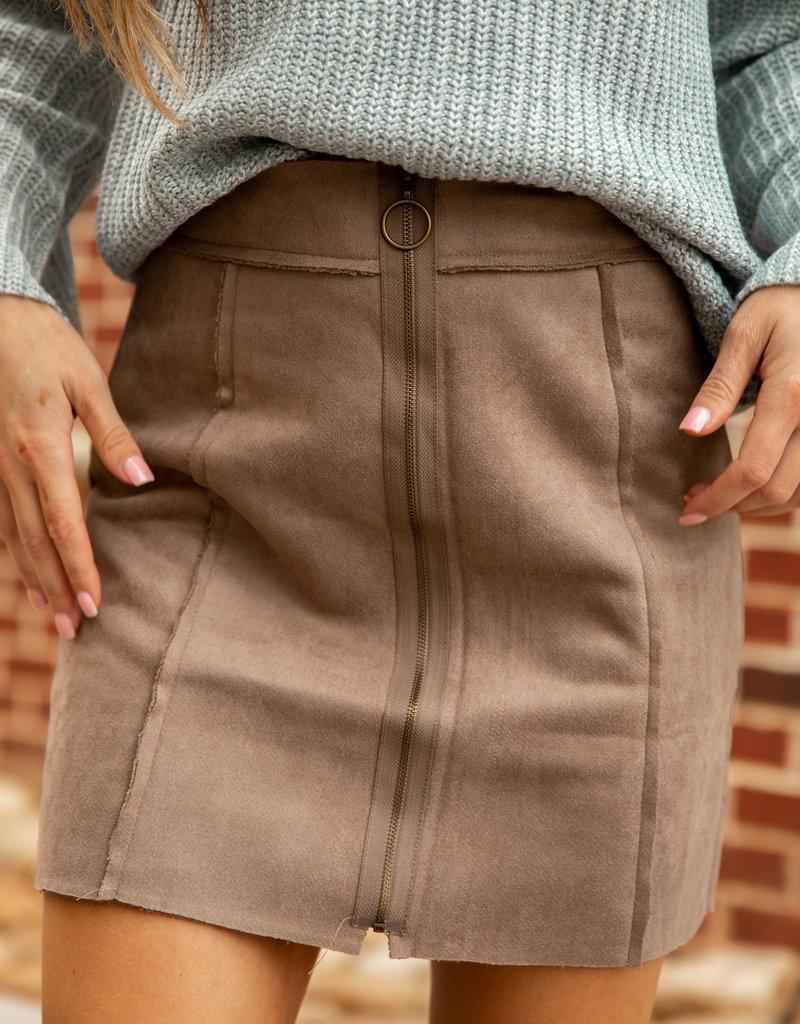 Suede Zipper Skirt