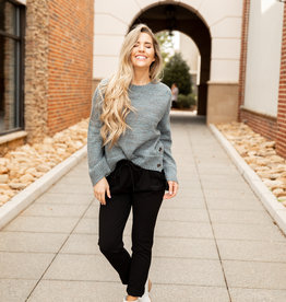 Side Button Bell Sleeve Sweater