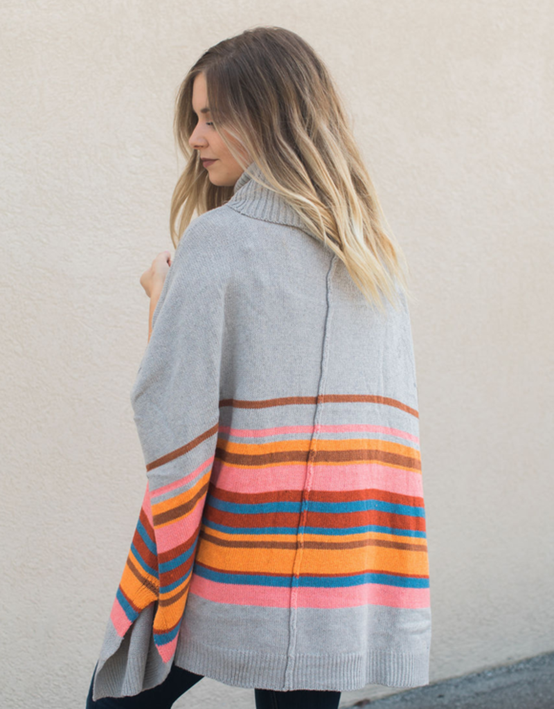 Colorblock Turtle Neck Poncho