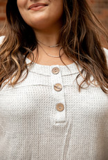 Waffle Knit Button Top