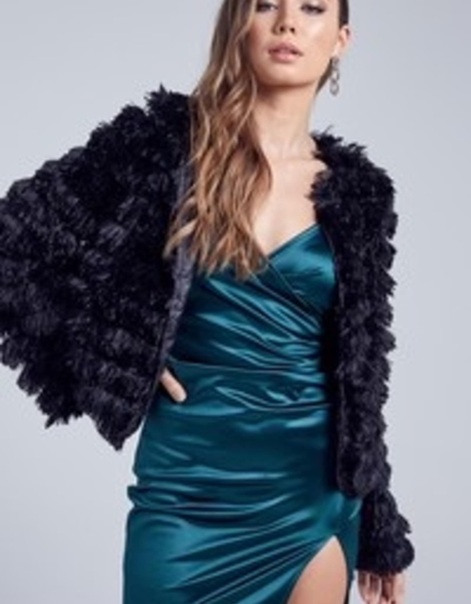 Blue Blush Furry Jacket IBT6527-1