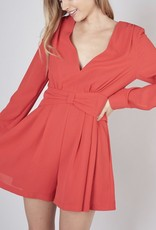 DO + BE Plunging Long Sleeve Romper Y17657