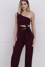 Burgundy One Shoulder Jumpsuit